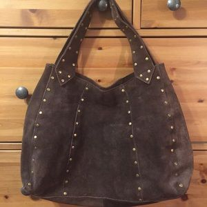 Gap Brown Suede Hobo Bag with Studded Detail